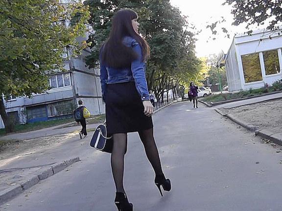 Black pantyhose upskirt