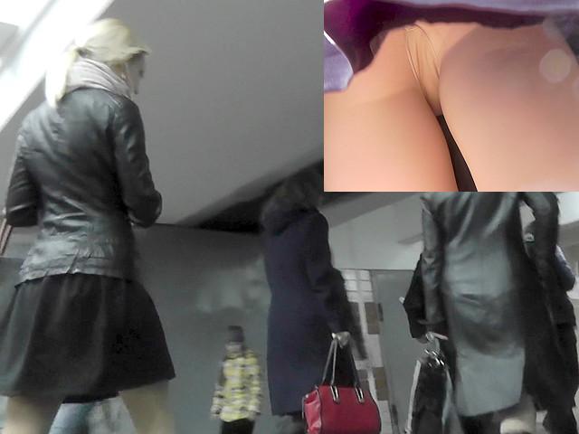 Upskirt Nylon Pantyhose Scene With Sexy Blonde